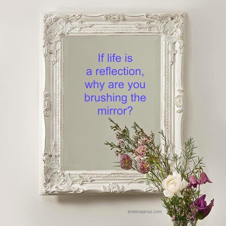 Beautiful mirror in wall
